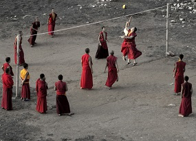 The equipment makes volleyball so accessible, even monks in the Himalayas play